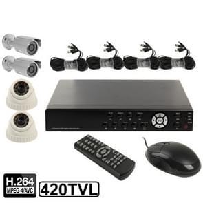 4-kanaals embedded digitale video recorder Kit (1/3 Sharp CCD  420TVL  24 x IR LED  6mm lens  IR afstand: 25m  H. 264 (8904AV 622QPIR + 3223F)