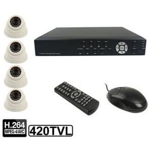 4-kanaals embedded digitale video recorder Kit (1/4 Sharp CCD  420TVL  24 x IR LED  6mm lens  IR afstand: 25m  H. 264 (8904AV 622QPIR + 3223F)