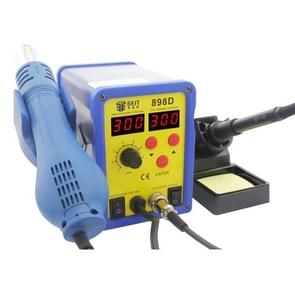 BEST BST-898D 2 in 1 AC 220V 720W LED Displayer Helical Wind Adjustable Temperature Unleaded Hot Air Gun + Solder Station & Soldering Iron, EU Plug(Blue)