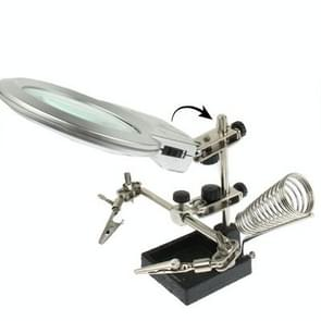 Helping Hand Magnifier 2 LED Light with Soldering Stand(Silver)