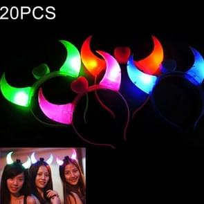 20 PCS Oxhorn Style Headband with LED Light, Random Color Delivery
