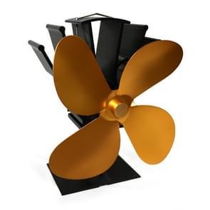 YL603 eco-vriendelijke aluminiumlegering Warmteaangedreven kachel ventilator met 4 bladen voor hout/gas/pellet kachels (goud)
