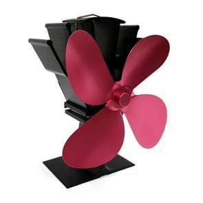 YL603 eco-vriendelijke aluminium Warmteaangedreven kachel ventilator met 4 bladen voor hout/gas/pellet kachels (Rose Red)