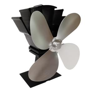 YL603 Eco-vriendelijke aluminium legering heat powered kachel ventilator met 4 bladen voor hout / gas / pellet kachels (zilver)