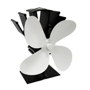 YL603 Eco-friendly Aluminum Alloy Heat Powered Stove Fan with 4 Blades for Wood / Gas / Pellet Stoves (White)