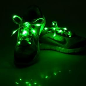 1 Pair LED Fluorescent Flat Shoelaces met Button, Lengte: about 113cm(groen)