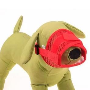 Hond Muzzle ademend nylon comfortabele zachte mesh verstelbaar huisdier mondkapje voorkomen beet  maat L: 18-24cm (rood)