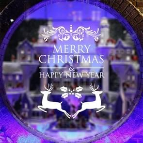 Home Decor Merry Christmas Happy New Year Removable Wall Stickers, Size: 58cm x 58cm(White)