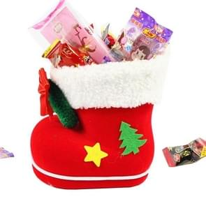 Santa Pattern Christmas Decoration Flocking Stocking Boot Candy Bag, Size: 14cm x 14cm x 8cm