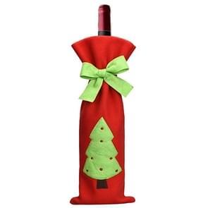 Patroon Christmas Tree tafel decoratie pluche Champagne wijn fles zak  verpakking van 3