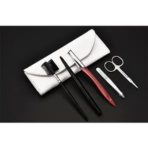 Draagbare RVS Beauty Make-up Tools (wenkbrauw kam + wenkbrauw schaar wenkbrauw mes + Clip wenkbrauw + wenkbrauw borstel) Kit
