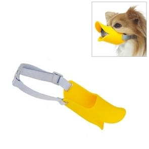 Schattig Duck mond vorm siliconen snuit voor huisdier hond  maat: L (geel)