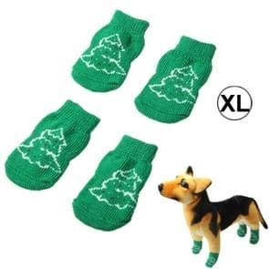 Cute Christmas Tree Pattern Cotton Non-slip Pet Christmas Socks,Size: XL(Green)
