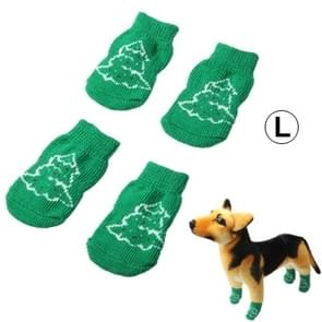 Cute Christmas Tree Pattern Cotton Non-slip Pet Christmas Socks,Size: L(Green)