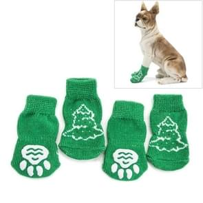 Cute Christmas Tree Pattern Cotton Non-slip Pet Christmas Socks,Size: S(Green)
