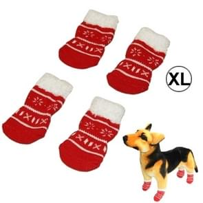 Cute Snowflake Pattern Cotton Non-slip Pet Christmas Socks,Size: XL(Red)