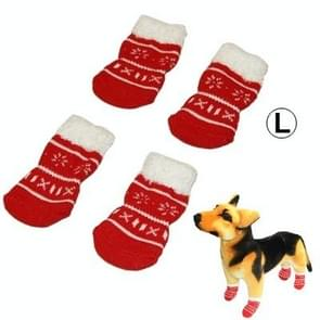 Cute Snowflake Pattern Cotton Non-slip Pet Christmas Socks,Size: L(Red)