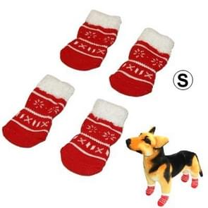 Cute Snowflake Pattern Cotton Non-slip Pet Christmas Socks,Size: S(Red)