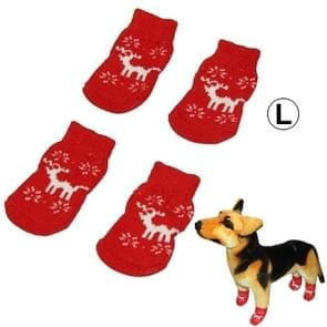 Cute Deer Pattern Cotton Non-slip Pet Christmas Socks,Size: L(Red)