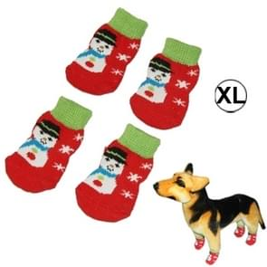 Cute Snowman Pattern Cotton Non-slip Pet Christmas Socks,Size: XL(Red)