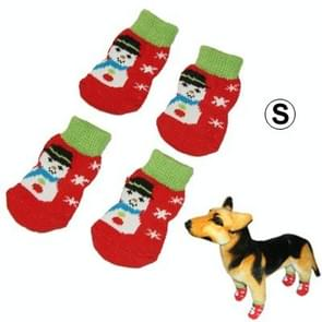 Cute Snowman Pattern Cotton Non-slip Pet Christmas Socks,Size: S(Red)