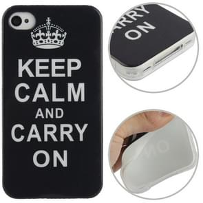 iPhone 4 & 4S Keep Calm And Carry On patroon TPU back cover Hoesje