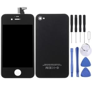 3 in 1 voor iPhone 4S (LCD Digitizer + Glass Back Cover + Controller Button)(Zwart)