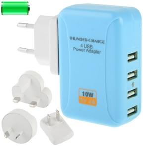 4x USB Power Adapter Travel Charger with 4 Easy Travel Interchangeable Plugs, For iPad, iPhone, Galaxy, Huawei, Xiaomi, LG, HTC and Other Smart Phones, Rechargeable Devices(Blue)