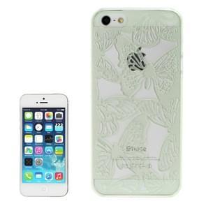 Holle gravure Butterfly plastic beschermende case voor iPhone 5 & 5s & SE (licht groen)