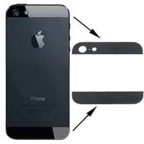 Originele back cover Top & onder glaslens voor iPhone 5(Black)