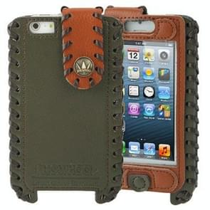 Hand-made Style Top-grain Cowhide Leather Case for iPhone 5 & 5s & SE & SE  (Army Green + Brown)