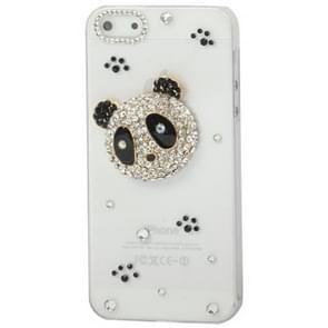 iPhone 5 & 5S & SE met nep diamanten ingelegd Panda beer patroon Kunststof back cover Hoesje