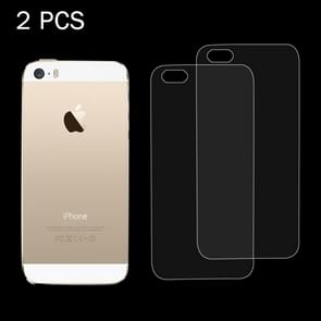 2 PCS for iPhone SE & 5 & 5S 0.26mm 9H Surface Hardness 2.5D Explosion-proof Back Tempered Glass Film