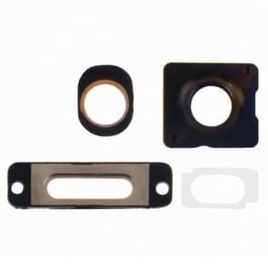4 in 1 voor iPhone 5S (buitenste glas cameralens + Camera Lens Ring opladen poort Ring + hoofdtelefoon Jack Ring) reparatie deel Kit(Gold)