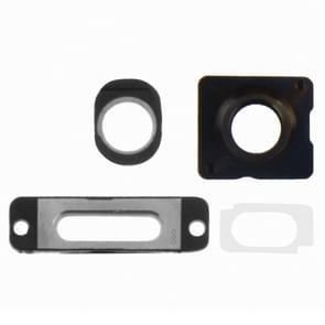 4 in 1 voor iPhone 5S (buitenste glas cameralens + Camera Lens Ring opladen poort Ring + hoofdtelefoon Jack Ring) reparatie deel Kit(White)