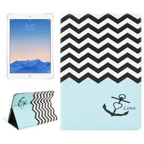 Wave & Anchor Pattern Leather Case with Holder & Card Slots & Wallet for iPad Air 2 / iPad 6