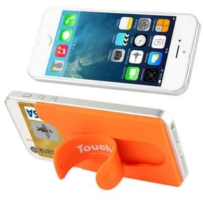 Silicone Stick Credit Card Pocket Pouch with Holder for iPhone 6 & 6s / iPhone 5 & 5C & 5S / iPhone 4 & 4S(Orange)