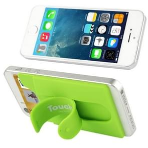 Silicone Stick Credit Card Pocket Pouch with Holder for iPhone 6 & 6s / iPhone 5 & 5C & 5S / iPhone 4 & 4S(Green)