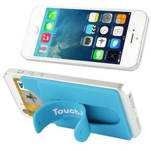 Silicone Stick Credit Card Pocket Pouch with Holder for iPhone 6 & 6s / iPhone 5 & 5C & 5S / iPhone 4 & 4S(Blue)
