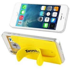 Silicone Stick Credit Card Pocket Pouch with Holder for iPhone 6 & 6s / iPhone 5 & 5C & 5S / iPhone 4 & 4S(Yellow)