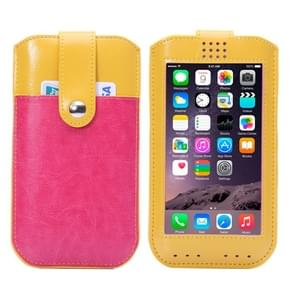 Universal Crazy Horse Texture Leather Case with Fullscreen Touch & Card Slots for iPhone 6 / Galaxy i8552 / Huawei Ascend P6 /  HTC One (Yellow + Magenta)