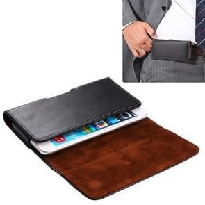 Universele horizontale stijl Genuine lederen hoes / taille tas met terug Splint voor iPhone 6  Galaxy S4 & S3(Black)