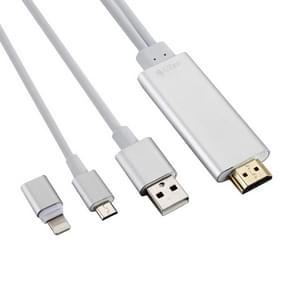 8 Pin naar HDMI HDTV Adapter Kabel met USB oplader Kabel voor iPhone 6 & 6s / iPhone 6 Plus & 6s Plus  met Micro USB Adapter voor Samsung Galaxy S5 / Note 4 (zilver)