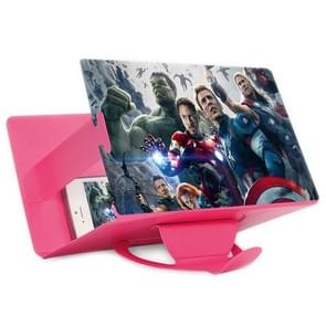Portable and Eyeshield Notebook Style Tablet PC Screen Magnifier 3D Enlarged Screen Mobile Phone Video-Frequency Amplifier with Flexible Stand and Stable Strut(Magenta)