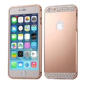 Diamond Encrusted Push-pull stijl metaal Plating Bumper Frame + acryl terug dekken combinatie Case voor iPhone 6 Plus & 6s Plus (Rose Gold)