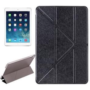 Transformers stijl zijde textuur horizontale Flip effen kleur lederen draagtas met houder voor iPad Pro 12 9 inch (zwart)