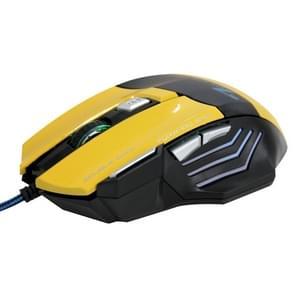 Ultra-nauwkeurige bedrade 5500 DPI optische Gaming Muis met LED verlichting en 7 knoppen voor PC & Laptop (geel)