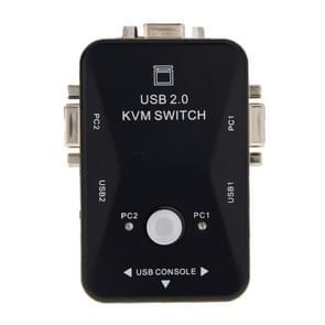 KVM-21UA 2 havens USB KVM Switch Box met controleknop voor PC-toetsenbord muis Monitor(Black)
