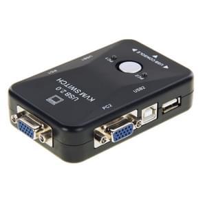KVM-21UA 2 ports USB KVM Switch Box met controleknop voor PC toetsenbord muis Monitor(zwart)