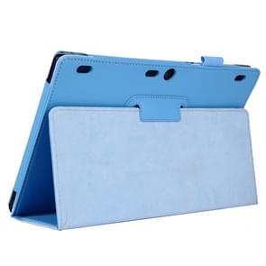 Lenovo Tab2 A10-70 horizontaal Litchi structuur PU leren Hoesje met tweevouws houder (blauw)